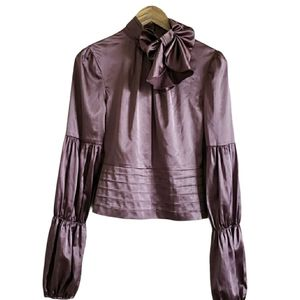 Tie-neck puff sleeve purple blouse size 4